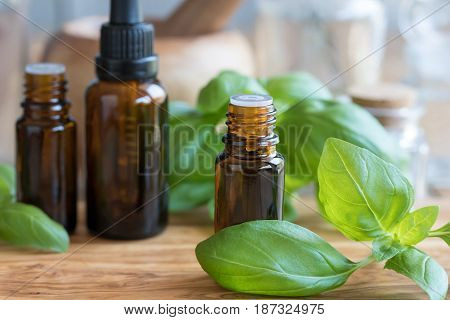 A Bottle Of Basil Essential Oil With Fresh Basil Leaves