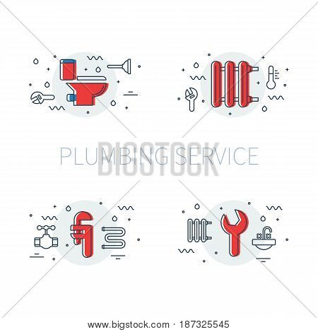 Plumbing service set of illustrations and logos with toilet bowl, heater radiator, and pipe wrench