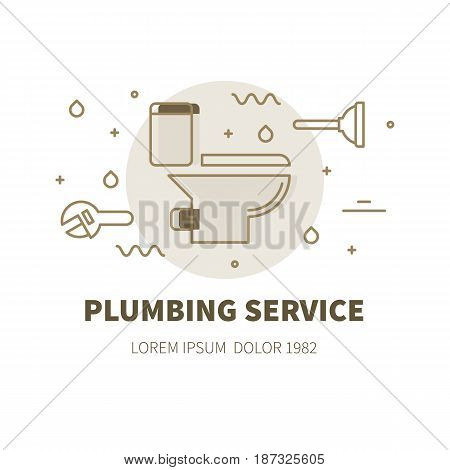 Plumbing service concept design illustration and logo of toilet bowl