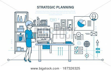 Planning strategy and marketing strategy concept. Investment growth and management. Planning process and meeting. Illustration thin line design of vector doodles, infographics elements.