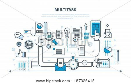 Multitask, teamwork, performing multiple task simultaneously - sale, marketing, using tablet, laptop and cellphone, search and research of data. Illustration thin line design of vector doodles