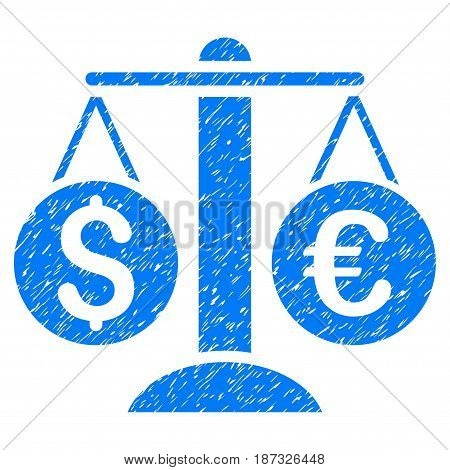 Grunge Currency Balance icon with grunge design and scratched texture. Unclean vector blue pictogram for rubber seal stamp imitations and watermarks. Draft emblem symbol.