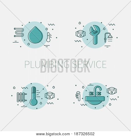 Plumbing service set of illustrations and logos with water drop, adjustable pipe wrench, thermometer and sink basin