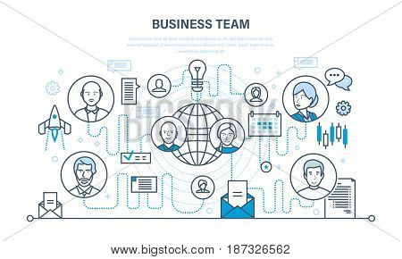 Business team, teamwork collaboration, communication and exchange of important information, dialogues, discussions. Start-up concept. Illustration thin line design of vector doodles