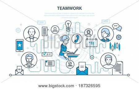 Teamwork, communication and exchange of important information, dialogues and discussions, and workflow space. Illustration thin line design of vector doodles, infographics elements.