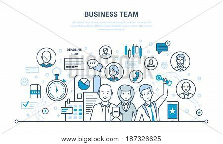 Business team, teamwork, communication and exchange of important information, dialogues and discussions, and workflow space. Illustration thin line design of vector doodles, infographics elements.