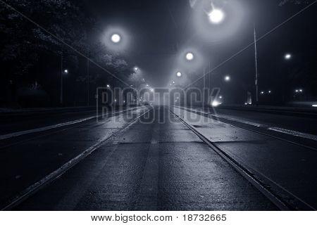 Fog on the street at night
