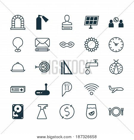 Set Of 25 Universal Editable Icons. Can Be Used For Web, Mobile And App Design. Includes Elements Such As Arch, Cutlery, Measurement And More.