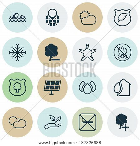 Set Of 16 Ecology Icons. Includes Cloud Cumulus, Delete Woods, Insert Woods And Other Symbols. Beautiful Design Elements.