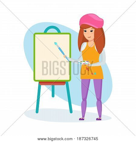 Children choose a profession. The girl, holding a brush and paints in her hands, stands before the canvas, tries herself as an artist. Modern vector illustration isolated on white background.