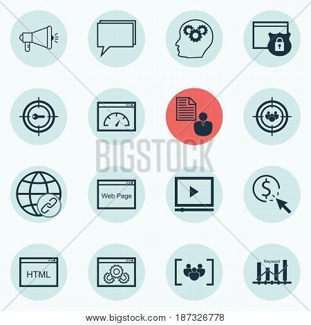 Set Of 16 Advertising Icons. Includes Video Player, Report, Loading Speed And Other Symbols. Beautiful Design Elements.