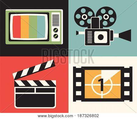 Vector flat illustration, icon set of television: TV, camera, clapper movie