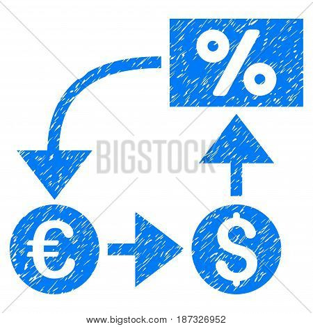 Grunge Currency Cashflow icon with grunge design and scratched texture. Unclean vector blue pictogram for rubber seal stamp imitations and watermarks. Draft sticker symbol.