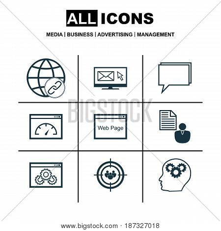 Set Of 9 Marketing Icons. Includes Website, Intellectual Process, Conference And Other Symbols. Beautiful Design Elements.