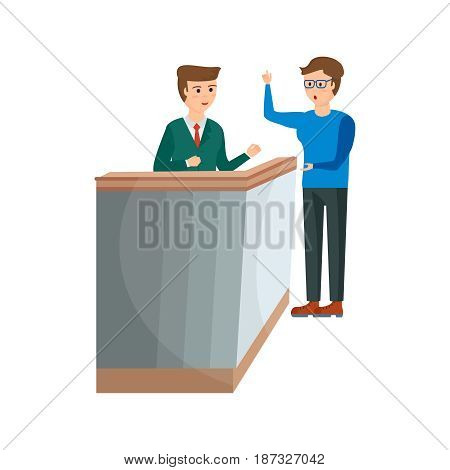 Working hotels. The receptionist serves the client, and gives him the key to the hotel room. Modern vector illustration isolated on white background.