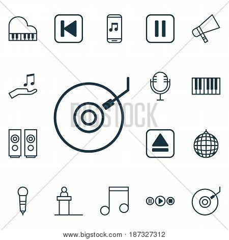 Set Of 16 Music Icons. Includes Mike, Sound Box, Microphone And Other Symbols. Beautiful Design Elements.