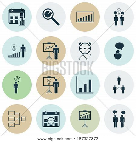 Set Of 16 Management Icons. Includes Solution Demonstration, Group Organization, Planning And Other Symbols. Beautiful Design Elements.