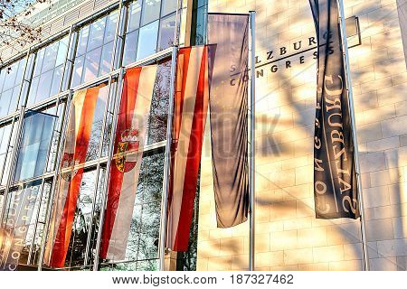 Salzburg, Austria, January 1, 2017: Modern building of the Congress in Salzburg, Austria. Europe the European Union