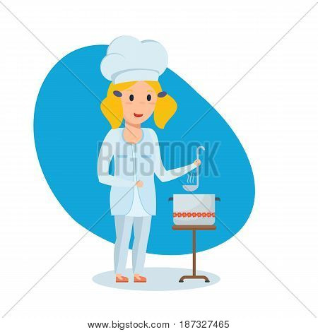 Children choose a profession. A beautiful little girl in the shape of a chef with a bucket in her hands, stir and taste the soup. Modern vector illustration isolated on white background.