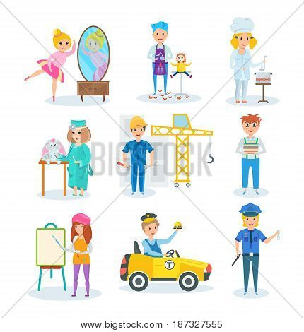 Set of children choose a profession. Ballet dancer, hairdresser, painter, doctor, builder, scientist, chef, taxi driver, policeman Modern vector illustration isolated on white background