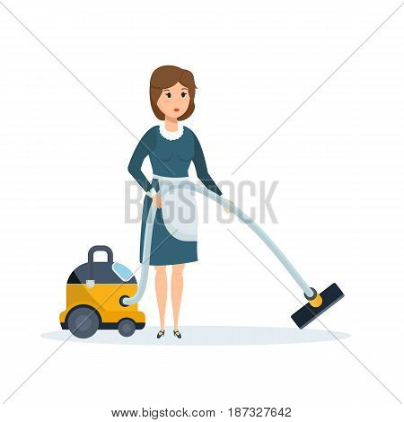 Working in hotel room. Cleaning service. The hotel employee removes dust, cleans the room, vacuums the room. Modern vector illustration isolated on white background.
