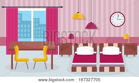 Hotel room interior. Design with furniture and house equipment. Interior of the room with furniture and modern equipment, hotel room. Modern vector illustration isolated on white background.