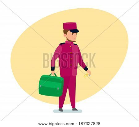Staff of hotels. The hotel employee helps to transfer luggage to the room. Modern vector illustration isolated on white background.