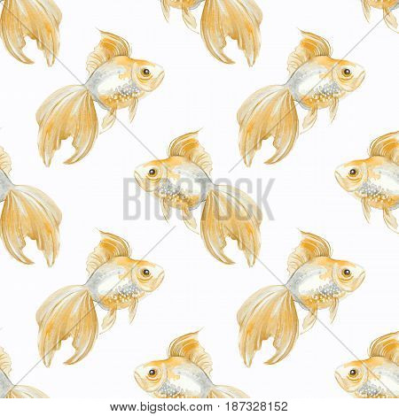 Fish. Seamless pattern. Hand drawn background