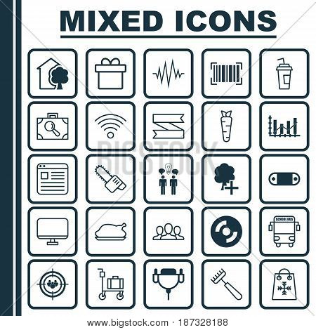 Set Of 25 Universal Editable Icons. Can Be Used For Web, Mobile And App Design. Includes Elements Such As Society, Suitcase Pushcart, Transport Vehicle And More.