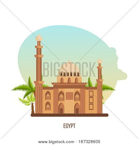 World sights. Architectural building in Egypt, monument of architecture - the mosque of Sultan Hasan. Vector illustration isolated on white background.