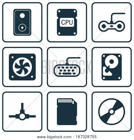 Set Of 9 Computer Hardware Icons. Includes Audio Device, Network Structure, Memory Card And Other Symbols. Beautiful Design Elements.