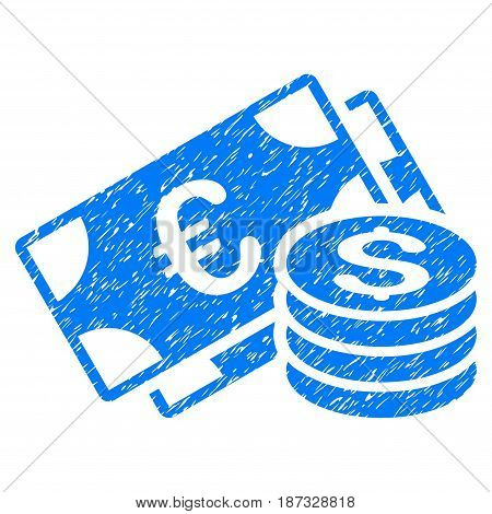Grunge Dollar And Euro Cash icon with grunge design and dirty texture. Unclean vector blue pictogram for rubber seal stamp imitations and watermarks. Draft sticker symbol.