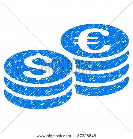 Grunge Dollar And Euro Coin Stacks icon with grunge design and unclean texture. Unclean vector blue pictogram for rubber seal stamp imitations and watermarks. Draft emblem symbol.