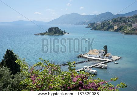 Beautiful Vlacherna Monastery And Mouse Island (pontikonisi) On Corfu, Kerkyra, Greece