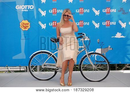 Giffoni Valle Piana Sa Italy - July 20 2014 : Isabella Ferrari at Giffoni Film Festival 2014 - on July 20 2014 in Giffoni Valle Piana Italy