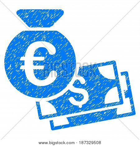 Grunge Euro And Dollar Cash icon with grunge design and dirty texture. Unclean vector blue pictogram for rubber seal stamp imitations and watermarks. Draft sign symbol.