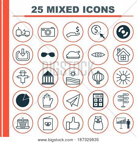Set Of 25 Universal Editable Icons. Can Be Used For Web, Mobile And App Design. Includes Elements Such As Chicken Fry, Enter, Present Pouch And More.