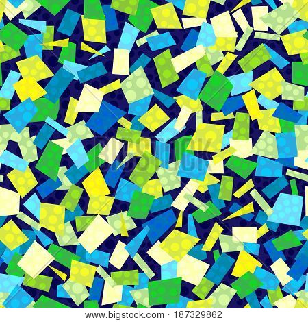Vector seamless confetti pattern in cool colors. Confetti of different shapes and colors on a dark blue background.