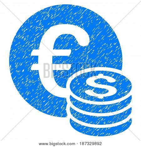 Grunge Euro And Dollar Coins icon with grunge design and dirty texture. Unclean vector blue pictogram for rubber seal stamp imitations and watermarks. Draft emblem symbol.
