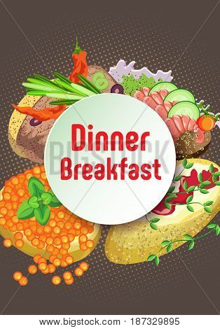 Vector background sandwich round ram for text diner breakfast. On a braun background with a beige halftone.