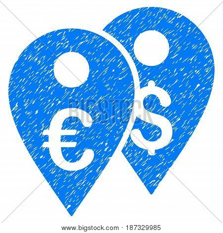Grunge Euro And Dollar Map Markers icon with grunge design and dirty texture. Unclean vector blue pictogram for rubber seal stamp imitations and watermarks. Draft sticker symbol.