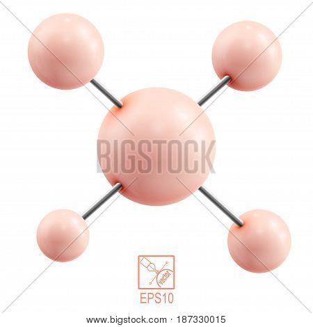 Orange molecule isolated on white background. Vector illustration.