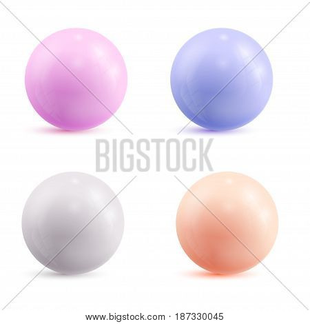 Set of colored atoms, isolated on a white background. Vector illustration.