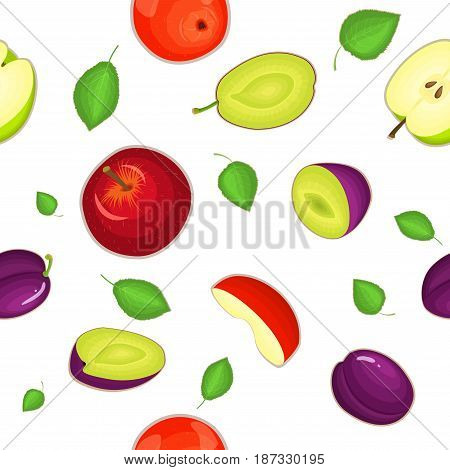 Seamless vector pattern of ripe apple and plum fruit. White background with delicious juicy plums and apples slice half leaves. Vector fresh fruit Illustration for printing on fabric, textile design