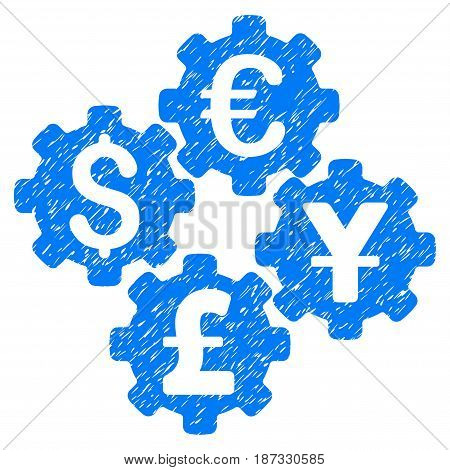 Grunge Financial Gears icon with grunge design and dirty texture. Unclean vector blue pictogram for rubber seal stamp imitations and watermarks. Draft emblem symbol.