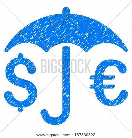 Grunge Financial Umbrella icon with grunge design and dirty texture. Unclean vector blue pictogram for rubber seal stamp imitations and watermarks. Draft sign symbol.