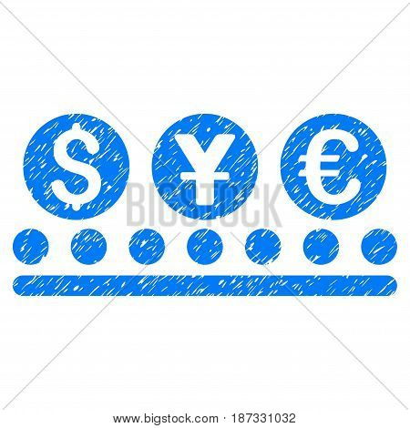 Grunge Money Conveyor icon with grunge design and scratched texture. Unclean vector blue pictogram for rubber seal stamp imitations and watermarks. Draft sticker symbol.