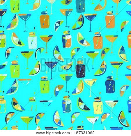 Vector colorful seamless pattern with alcoholic cocktails sketch. Abstract hand drawn drinks background for bar or restaurant menu for textile or book covers manufacturing  print.
