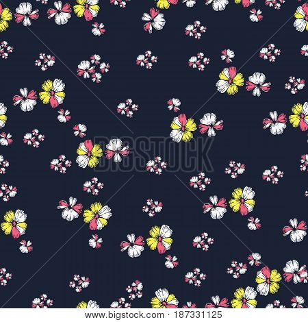 Hand drawn vector floral pattern. Tropical flowers and water bubbles.Seamless background for baby textile surface home interior cover fabric  print gift wrap scrapbooking decoupage.