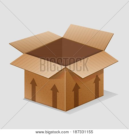 Illustration of an empty paper box crate container for goods, merchandise, shipment pachaging. Various contents can be added.